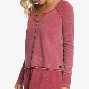 NWOT Roxy Rhubarb Look Lively Waffle Knit Top